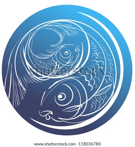 Contour image of two fish on a blue circle for Pisces