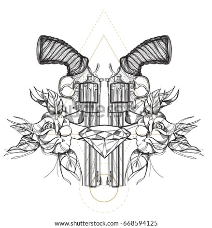 Stock Photo Contour image of two revolvers, roses and diamond. Vector illustration for tattoos, printing on T-shirts and other items.
