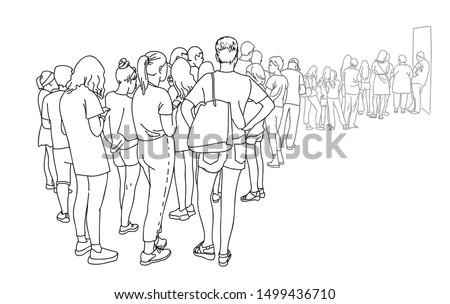 Contour line drawing group of people waiting in queue. Crowd standing at concert, meeting back view. Women and men in line at the cash register. Minimalistic sketch vector illustration