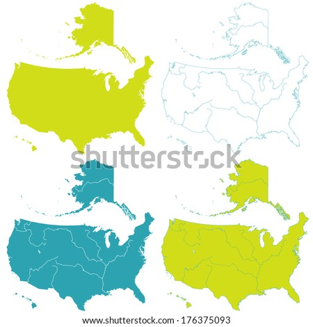 Contour map set of the United States. All objects are independent and fully editable