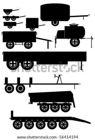 Contour of the automobile trailer, on a white background.