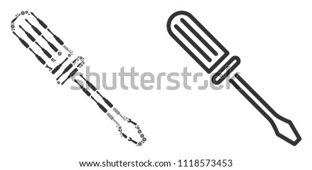 Contour screwdriver collage of workshop tools. Vector contour screwdriver icon is done of gears, hammers and other equipment objects. Concept for mechanic workshop.