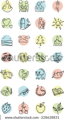 contour set of icons on a