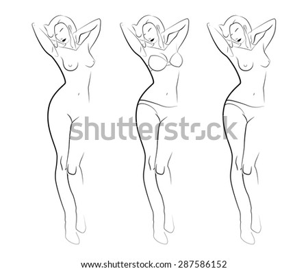 contour silhouettes of woman