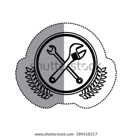 contour symbol wrench and monkey wrench icon, vector illustration design image