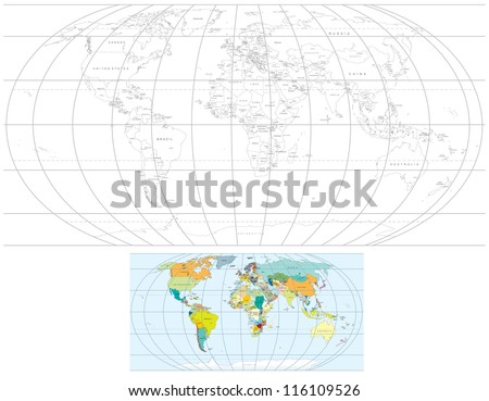 Contour Transparent World Map. Detailed Vector Political Maps with all Countries, Capitals.