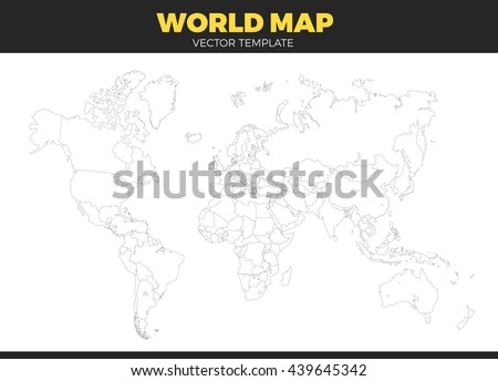 White outline world map vector download free vector art stock contour world map design vector illustration empty all countries template without country names text gumiabroncs Image collections