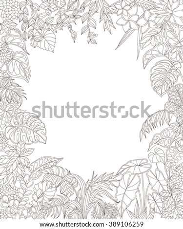 contoured leaves and flowers on