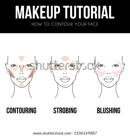 Contouring guide tutorial. Makeup Template of female face chart. Vector illustration of pretty young woman. Strobing, blushing and Contouring technique. Professional make up chart.