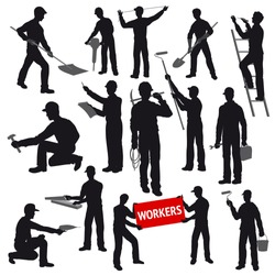 Contours of Workers and Builders with Instruments in the Workplace