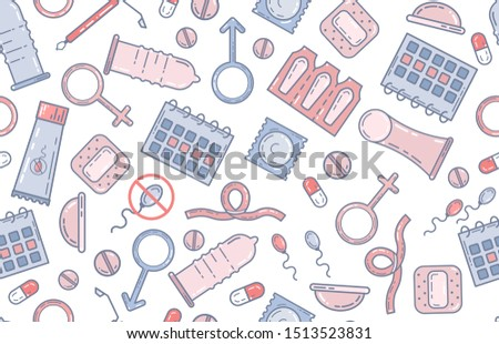 Contraception methods, birth control concept, medical illustration. Seamless pattern