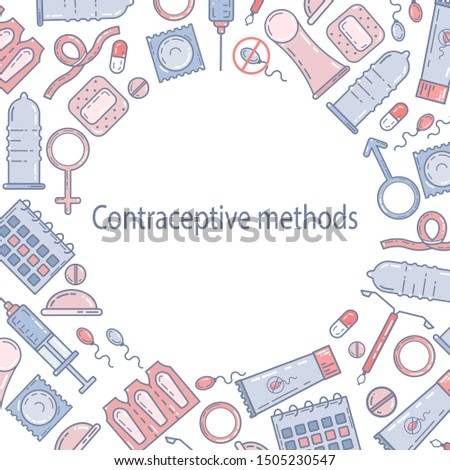 Contraceptive methods flat illustration. Birth control, protection. Vector banner