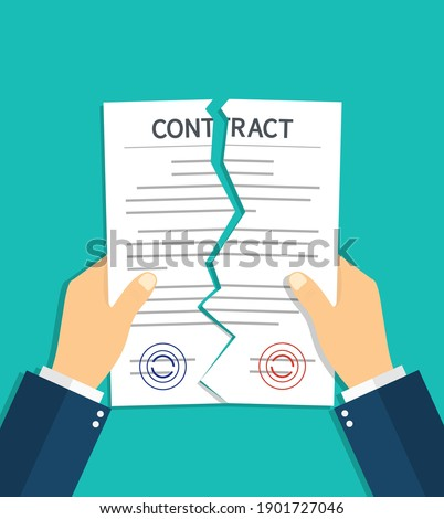 Contract breach and break. Terminate of contract. Rip of paper document. Cancel and torn of agreement for law. Termination deal in business. Failure in partnership. Icon of disagree in work. Vector. Foto d'archivio ©