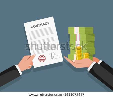 Contract bribe concept. Businessman pay for contract. Corruption in business. Foto stock ©