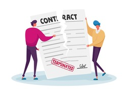 Contract Cancellation, Agreement Termination Concept. Couple of Tiny Male Characters Tearing Huge Paper Sheet with Terminated Contract. Businessmen at Workspace. Cartoon People Vector Illustration