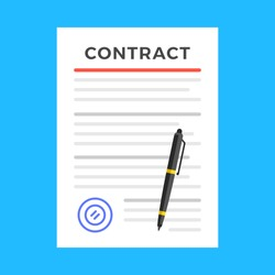 Contract. Contract signing, agreement concepts. Document with stamp and pen. Flat design. Vector illustration