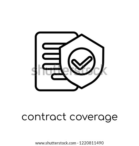 Contract Coverage icon. Trendy modern flat linear vector Contract Coverage icon on white background from thin line Insurance collection, editable outline stroke vector illustration