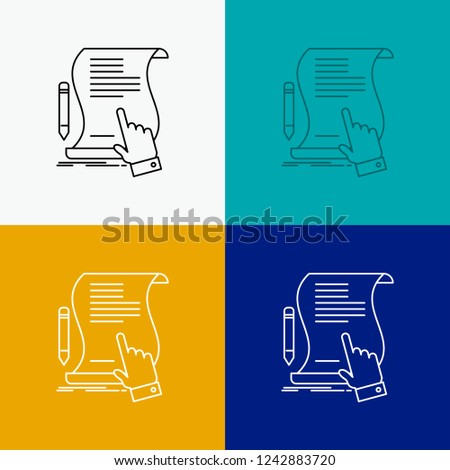 contract, document, paper, sign, agreement, application Icon Over Various Background. Line style design, designed for web and app. Eps 10 vector illustration