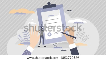 Contract document sign moment as legal purchase deal approvement tiny person concept. Business decision agreement with signature for company vector illustration. Successful client consideration scene. Photo stock ©