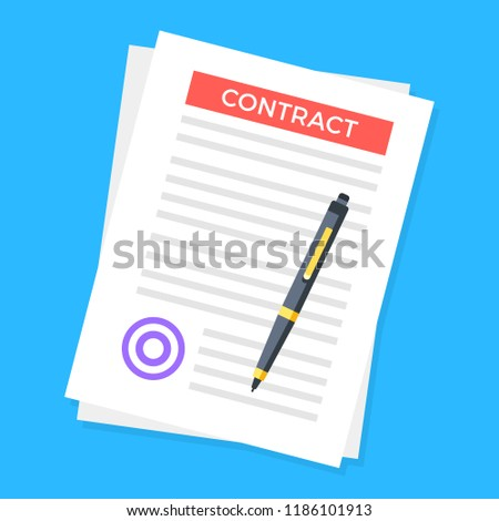 Contract. Document with stamp and pen. Sign a contract concept. Modern vector illustration