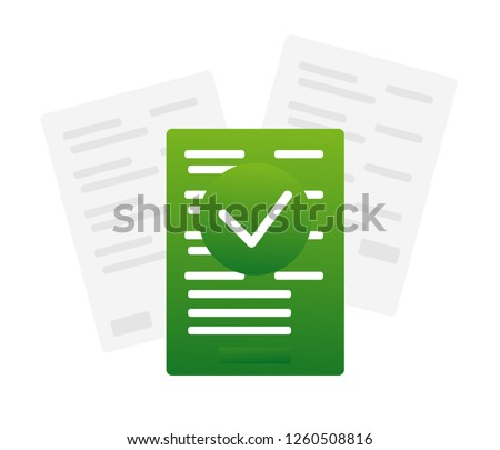 Contract documents pile vector illustration, flat cartoon stack of agreements document with signature and approval stamp, concept of paperwork, business doc