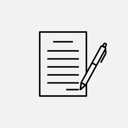 Contract icon. Agreement and report, document symbol. logo. Outline design editable stroke. For yuor design. Stock - Vector illustration