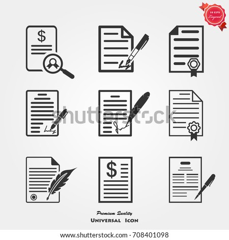 Contract icons vector