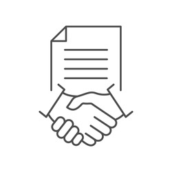Contract line icon. Business handshake teamwork linear concept. Agreement signing symbol. Vector isolated on white.