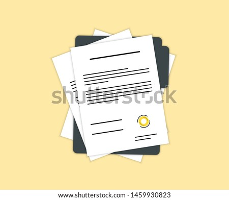 Contract or document signing icon. Document, folder with stamp and text. Contract conditions, research approval validation document. Contract papers. Document.  Folder with stamp and text.