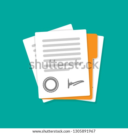 Contract or document signing icon. Signing contract simple style. Vector flat illustration