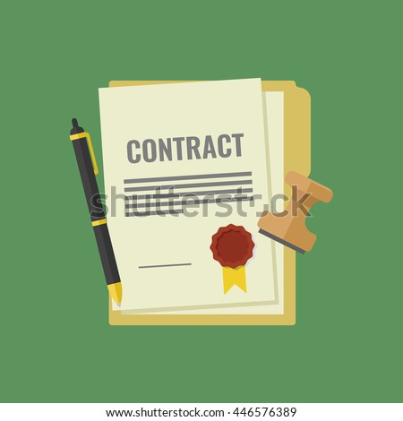 Contract signed and sealed, pen, stamp, documents for signature, document folder icon