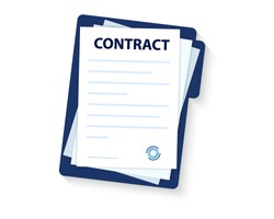 Contract signing. Contract agreement memorandum of understanding legal document stamp seal, concept for web banners, websites, infographics. Contract icon agreement pen.