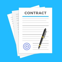 Contract signing. Document with seal and pen. Sign a contract, treaty, agreement. Top view. Flat design. Vector illustration