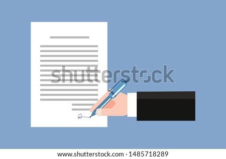 Contract signing in documents, trade agreements. Foto stock ©