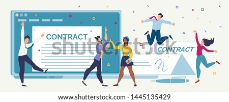 Contract Signing, Making Profitable Deal Flat Vector Concept. Happy Young Entrepreneurs, Internet Startup Team Jumping, Glad Because of Contract Conclusion, Getting Project Investments Illustration