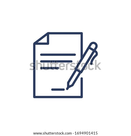Contract signing thin icon. Document with pen, paper, agreement, signature. Line icon for business, partnership, deal, cooperation concept