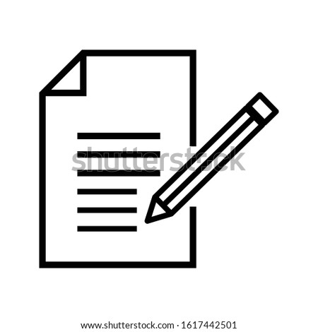Contract terms and conditions, document paper, creative writing and storytelling, brief text, write summary, assignment, vector line icon, thin stroke illustration Foto stock ©