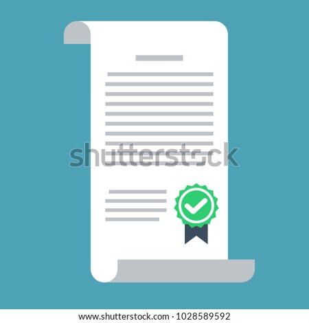 Contract vector icon in a flat style isolated on a colored background. Design icons of the signed contract. Conclusion of a contract.