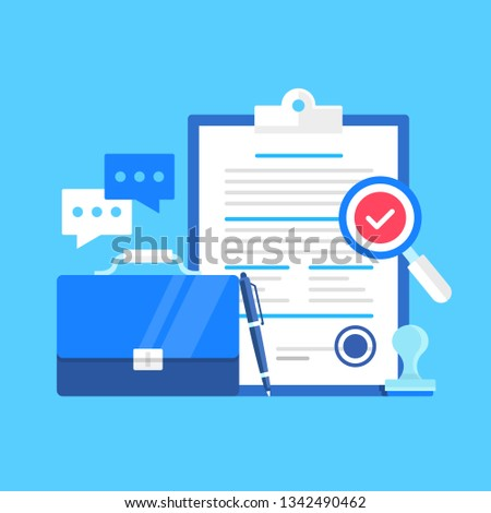 Contract. Vector illustration. Agreement, treaty, sign a contract concepts. Flat design. Clipboard and document with seal. Briefcase, pen, magnifying glass with check mark, chat icon and rubber stamp
