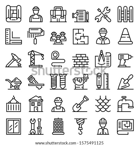 Contractor icons set. Outline set of contractor vector icons for web design isolated on white background
