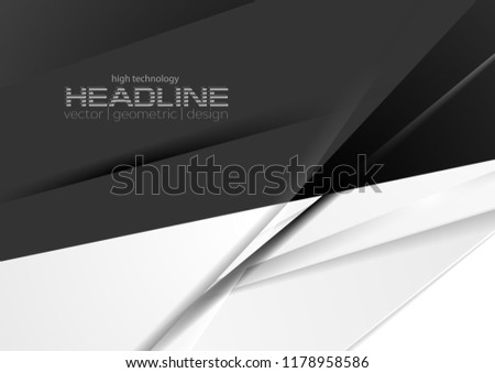 Contrast black and white stripes corporate abstract background. Technology modern vector design