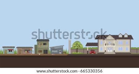 contrast city between poverty