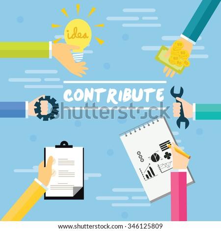 contribute fund raising idea contribution collaboration concept hands giving