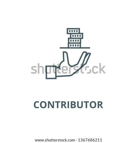 Contributor,service hand with money line icon, vector. Contributor,service hand with money outline sign, concept symbol, flat illustration Stock photo ©