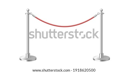 Control barrier with red rope on silver stanchions. Realistic 3d template element isolated. Exclusive event, movie premiere, gala, ceremony, awards concept. Vector illustration.