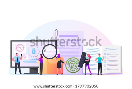 Control Concept. Tiny Characters with Document and Magnifier at Huge Computer Controlling Goods Quality. Internet Security Access, Inventory Committee Checking Docs. Cartoon People Vector Illustration