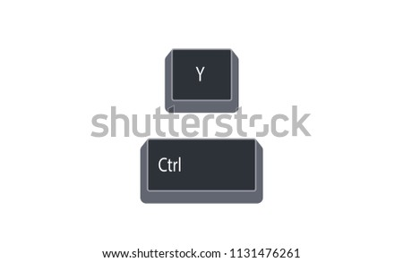 Control (Ctrl) and Y computer key button vector isolated on white background. Ctrl+Y for redo last action.