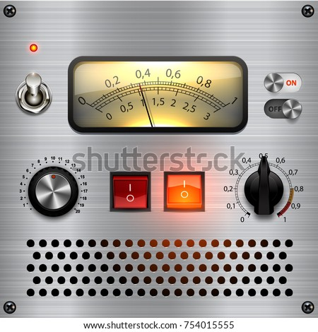 Control dashboard. Vector audio VU meters. Audio equipment. Switcher, Button, Knobs, Lamps. UI Kit, audio equipment