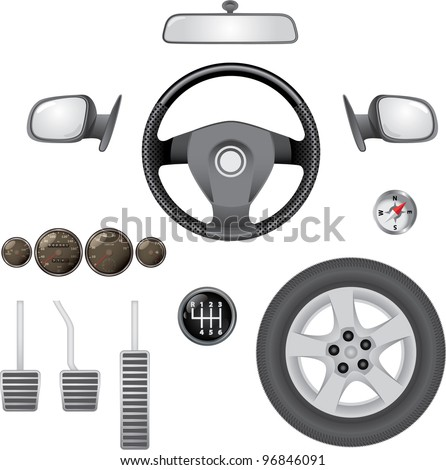 control elements of car - realistic illustration