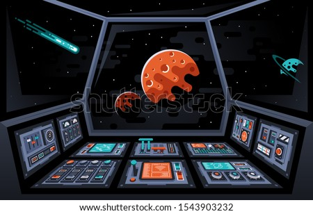 Control panel dashboard in the interior of the spaceship. Cabin of spacecraft. Planets and stars in the windows. Vector illustration. Сток-фото ©